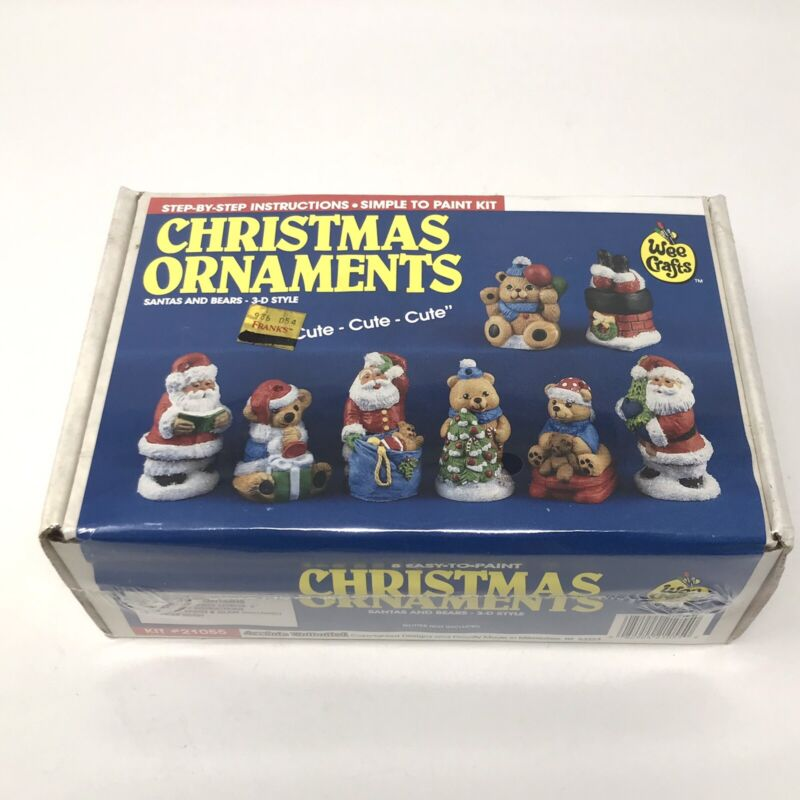NEW Wee Crafts Christmas Ornaments Santas & Bears 3D Style 8 Count Easy to Paint