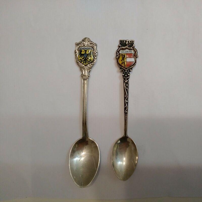 Lot Of  2 German .800 Silver Vintage Souvenir Spoons