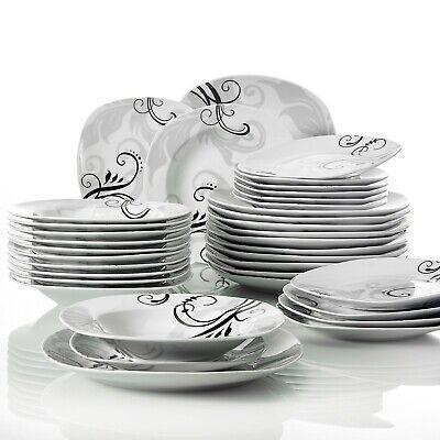VEWEET Tafelservice 'Zoey' aus Porzellan 36 teilig Tellerset für 12 Personen 12 Teller Set