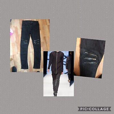 ARMY OF ME - Catwalk Designer Black Zip Design Jeans - Size 32 - Swedish -unisex