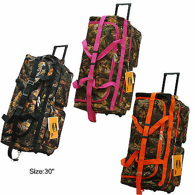 "Real Tree Camo Hunting Rolling Duffle Bag in 22""/30""/36"" with 3 Colors-BEST GIFT"