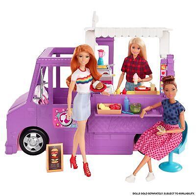 Barbie Food truck de juguete , muñeca y vehículo restaurant con 25...