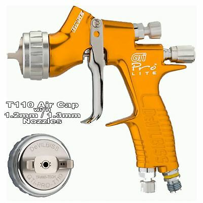 DeVilbiss GTi ProLite GOLD T110 Clearcoat/Gloss Smooth Spray Gun 1.2/1.3mm Tip