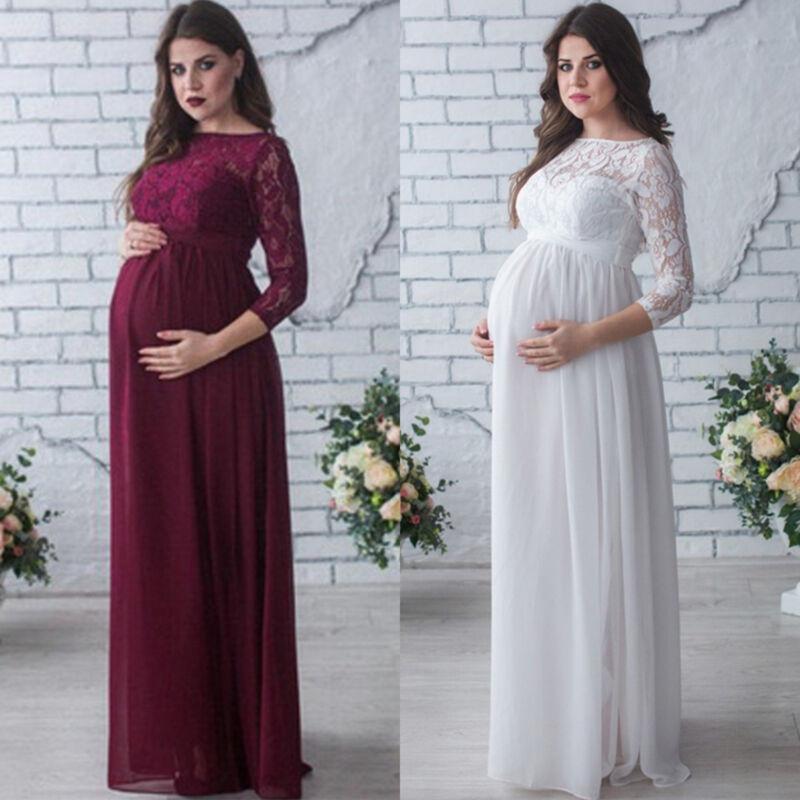 Damen Mutterschaft Schwangerschaftskleid Umstandskleid Maxikleider Fotoshooting
