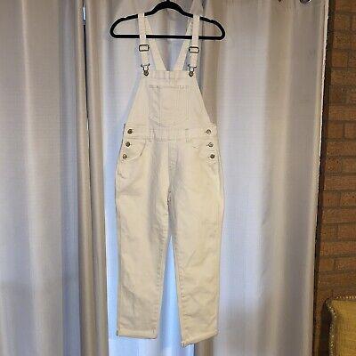 Vintage Overalls & Jumpsuits Old Navy White Jean Denim Pants Overalls Romper Size 6 $26.89 AT vintagedancer.com