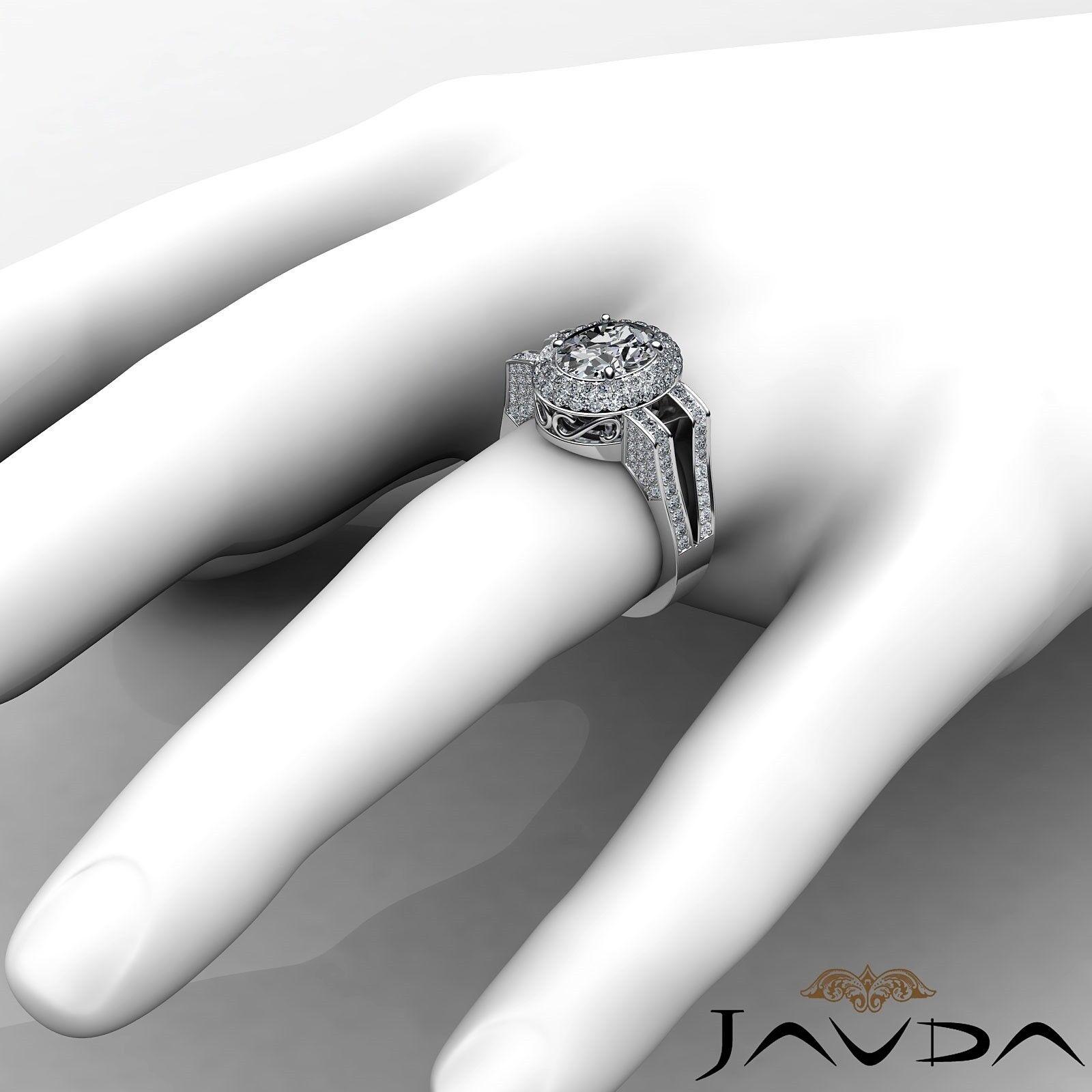 1.9ctw Gala Halo Split Shank Oval Diamond Engagement Ring GIA E-VS2 White Gold 3