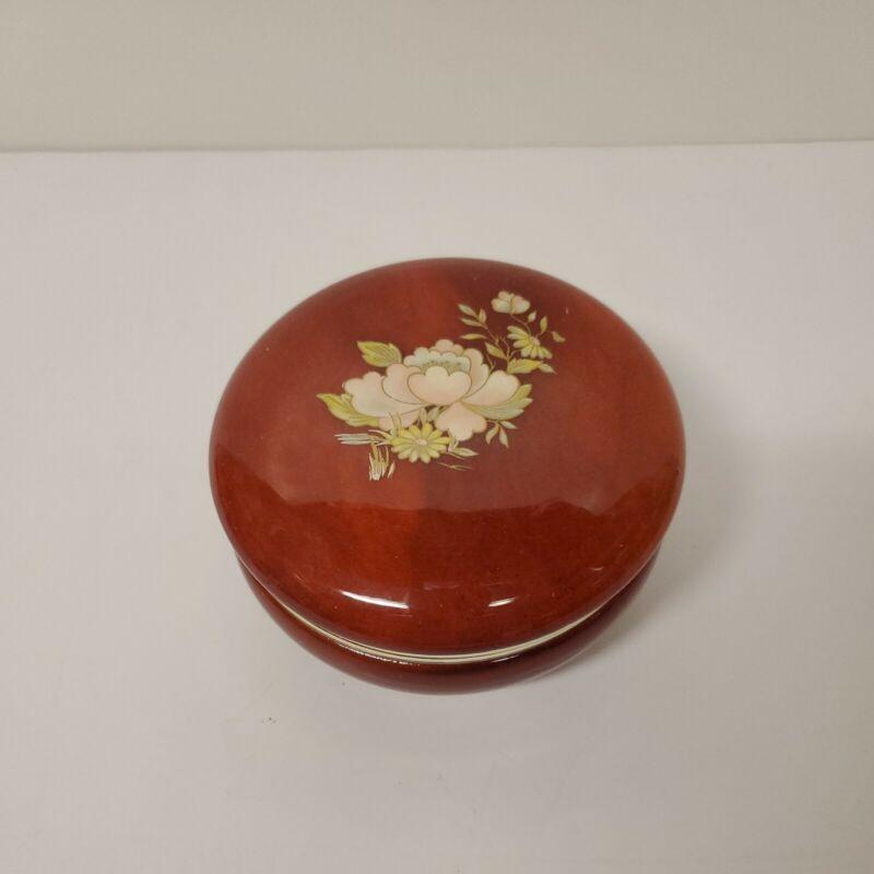 Genuine Alabaster Trinket Box Hand Carved Reddish Brown Made In Italy Vintage