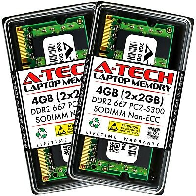 A-Tech 4GB 2x 2GB PC2-5300 Laptop SODIMM DDR2 667 MHz 200pin Memory RAM 4G 5300S 2 Gb Ddr2 667 Mhz Sodimm