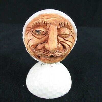 - Carved Face Golf Ball Goofball Handmade Gift Unusual Rare Unique