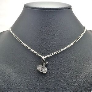 Tennis Racket Sport Necklace Sterling Silver Plated Chain Link Women's Jewelry