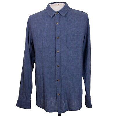 Marine Layer Mens L Blue Chambray Soft Cotton Button Front LS Shirt