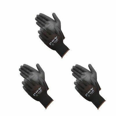 Work Gloves Small Size 3 Pack Liberty P-grip Black Polyurethane New