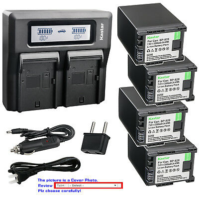 Kastar Battery Dual LCD Fast Charger for Canon BP-820 BP-828 & Canon XA20 Camera