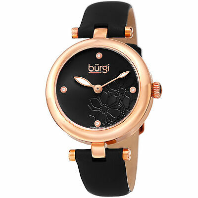 Women's Burgi BUR197BKR Diamond Marker Flower Dial Black Leather Strap Watch