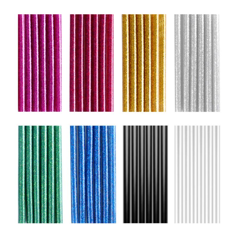 """100/200PCs Mini Hot Glue Gun Sticks 4 x 0.28"""" Clear Black Colorful Glitter"""