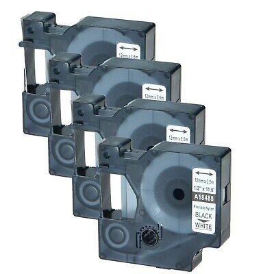 4x 18488 Black On White Flexible Nylon Industrial Label For Dymo Rhino 5200 12mm