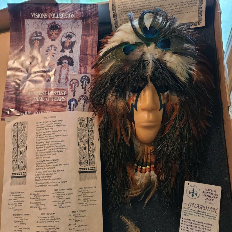 Native American Medicine Mask Trail Of Tears  R.W. Adamson w/ Tag The Guardian