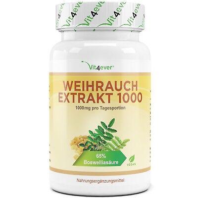 Boswellia Serrata Extrakt (Weihrauch Extrakt = 130 Kapseln - 1000 mg pro Tag - 100% Boswellia serrata Vegan)