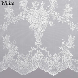 Carly Lace Curtain Panel with Attached Valance & Tassels - Assorted ...