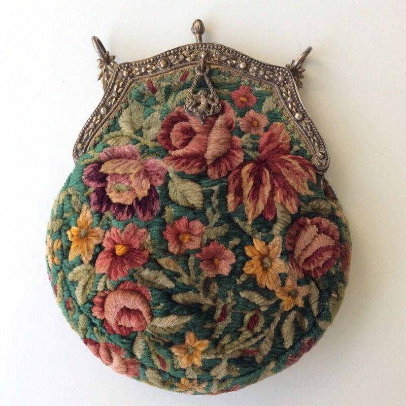 Antique Cherub Charm Purse Embroidery Crewel Evening Gilt Frame Rosebuds French?