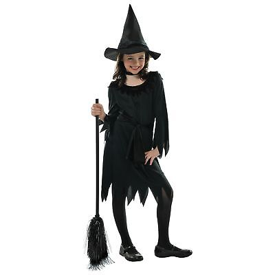 Halloween Costume Witch (Lil Witch Halloween Black Hat Dress Kids Childs Girls Fancy Dress)