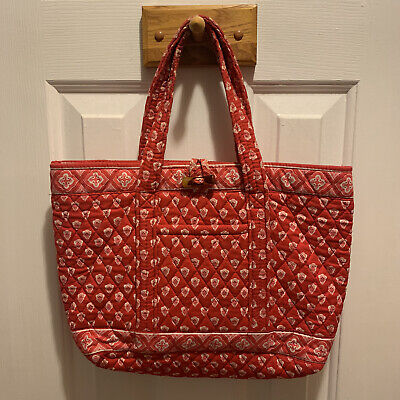 Vera Bradley Nantucket Red Purse Handbag Tote Medium