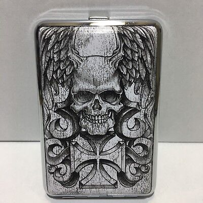 FLYING SKULL WITH IRON CROSS METAL CIGARETTE CASE KING -