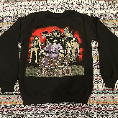 Vintage OZZY OSBOURNE Crew Neck Sweatshirt Shirt T Black Sabbath '80s Rock Tour