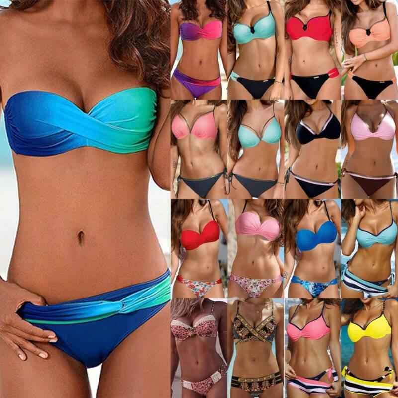 Damen Push Up BH Bikini Set Badeanzug Bademode Sommer Gepolsterter Schwimmanzug