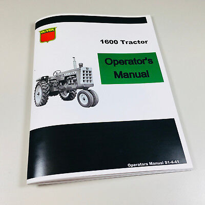 Oliver 1600 Tractor Owners Operators Manual Maintenance