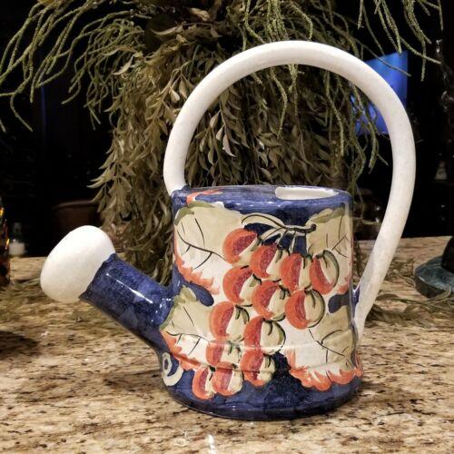 "Vintage BELLINI PIU Italian VINEYARD GRAPES Pottery Art Watering Can Planter 13"""