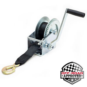 Manual Trailer Winch with Hook and 20' Strap 1,500 lb Hand Crank Boat Pull Tow