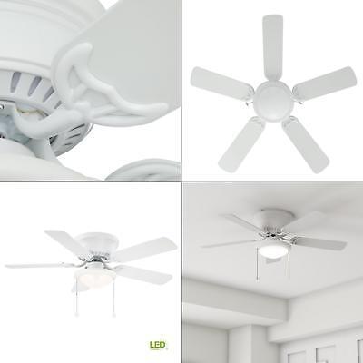 """Hugger 44"""" Indoor White Ceiling Fan w LED Light Kit 5-White Blades Flush Mount"""