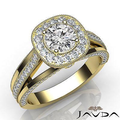 Milgrain Halo Split Shank Round Diamond Engagement Bezel Ring GIA E VS1 1.62 Ct