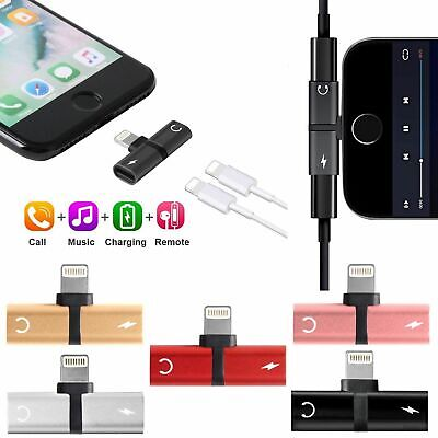 Adapter For Apple iPhone X 7 8 Plus Splitter Audio Earphone AUX Charger iOS 11