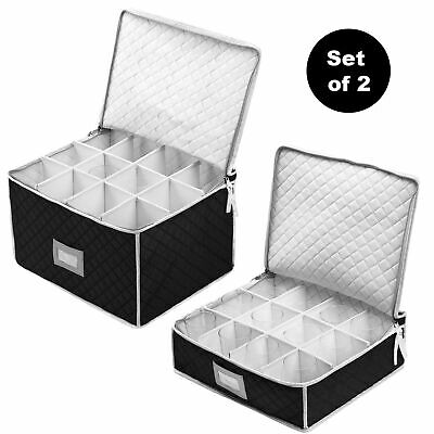 Set of 2 Cups & Glasses Storage Case - #1 Best Protection Stemware Chest for