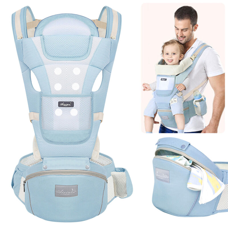 6-in-1 Breathable Newborn Infant Baby Carrier Adjustable Ergonomic Wrap Backpack