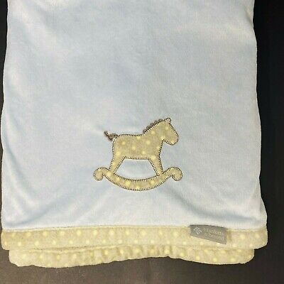 Blankets and Beyond Blue Rocking Horse Gray Sherpa Baby Blanket Yellow Polka Dot