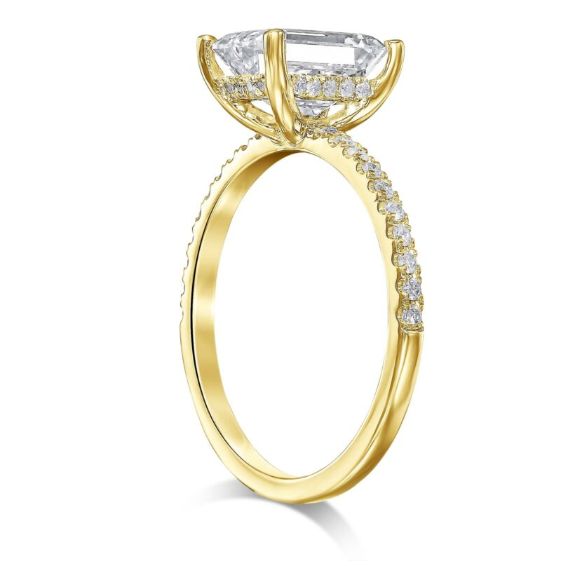 Real Diamond Engagement Ring Hidden Halo F/si1 1.75 Ct Emerald 14k Yellow Gold