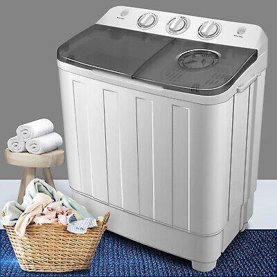 17LBS Top Pack Washing Machine Compact Twin Tub Laundry Washer Dryer Portable