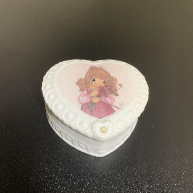 Precious Moments October Porcelain Opal Birthstone Heart Trinket Box 1996