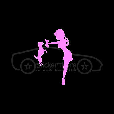 CUTE GIRL WITH JACK RUSSELL Sticker Fox Terrier Vinyl Decal Sexy Chick Puppy Toy