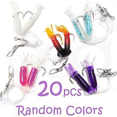 20pairs Random Color Rock Fishing 3 Twin bulb Squids Rockcod Fish Rigs bait New