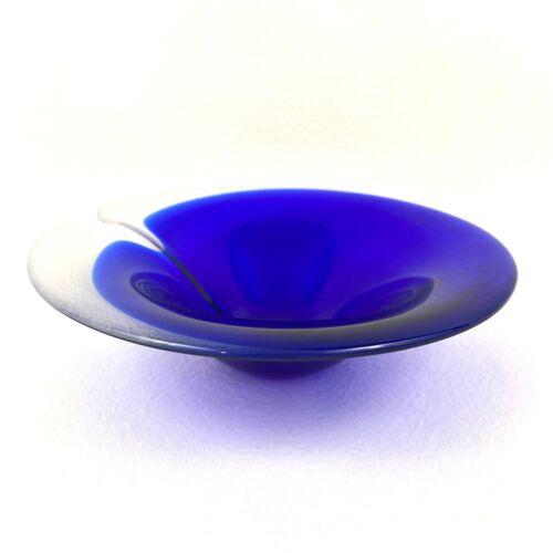 Cobalt Blue and Clear Mats Jonasson Magic Bowl Art Glass Sweden Scandinavian