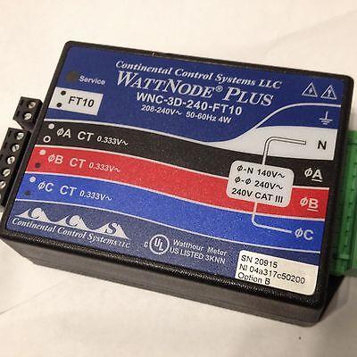 New Continental Control Wattnode Plus Wnc-3d-240-ft10 Lonworks 208-240v 4w