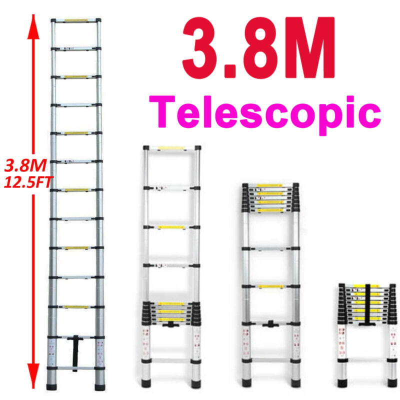 12.5FT/3.8M Multipurpose Aluminum Ladder Extend Telescopic Garden Builder Tool