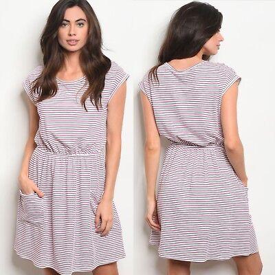 NWT Small Women's Pink Stripe T-shirt Dress With Pockets Boutique Top - Pink Stripe Dress Shirt