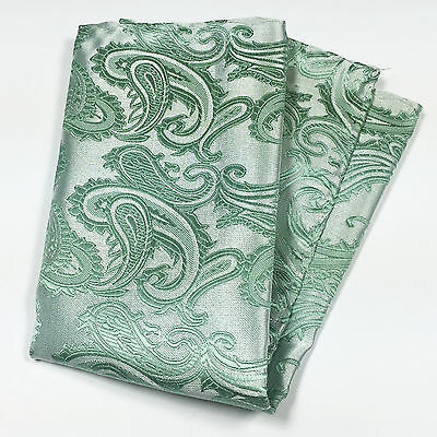 Pastel Mint Green Paisley Design Hankie Hankerchief Pocket Square Hanky Wedding