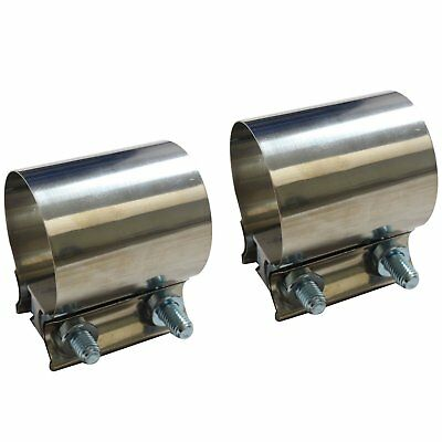 "2X 2.5"" 2-1/2"" Stainless Steel Butt Joint Band Exhaust Clamp Sleeve Coupler T304"