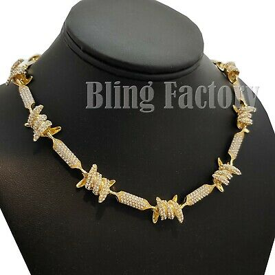 "Hip Hop Unisex Fashion Gold plated Iced Barbed Wire 18"" 20"" 24"" Chain Necklace"